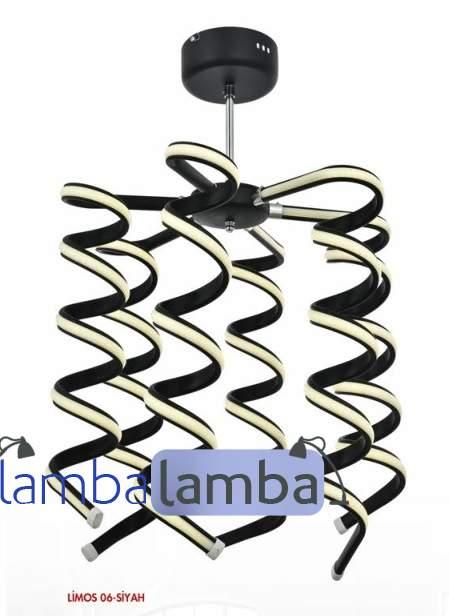 ledli modern kıvrımlı siyah beyaz powerledli aydınlatma salon avizesi dekoratif aydınlatma