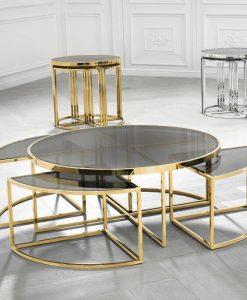 metal orta sehpa yavrulu zigonlu orta sehpa modeli gold sehpa salon metal sehpa cam sehpa
